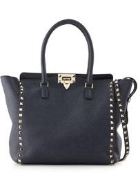 Valentino Rockstud Medium Leather Shopper Bag Denim Blue