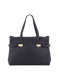 Salvatore Ferragamo Small Pebbled Leather Tote Bag Black
