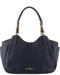 Salvatore Ferragamo Smooth Leather Hobo Tote Bag Navy