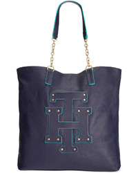 Tommy Hilfiger Th Patch Pebble Leather Tote With Chain