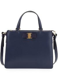 Salvatore Ferragamo Tracy Vara Saffiano Tote Bag Oxford Blue