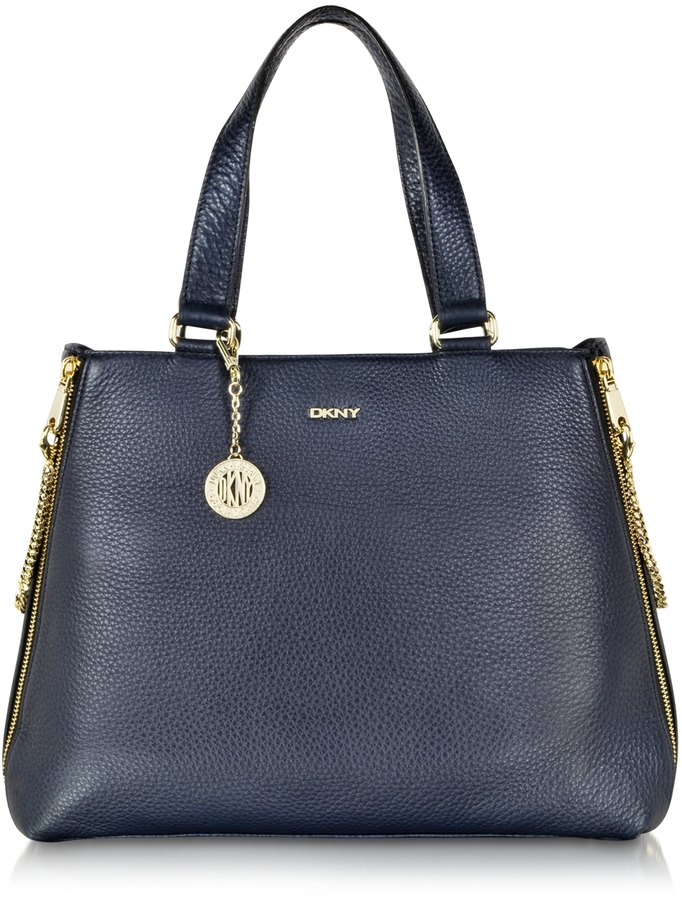 Dkny Tribeca Large Navy Blue Leather Tote Bag