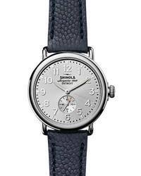 41mm runwell textured leather watch silvernavy medium 843429