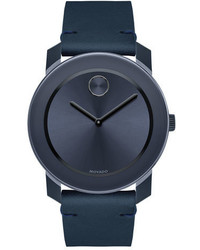 42mm bold watch with leather strap navy medium 705081