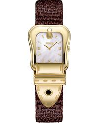 Fendi B Diamond Buckle Watch With Leather Strap Goldbrown