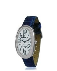 Bling Jewelry Geneva Platinum Oval White Dial Blue Leather Style Watch