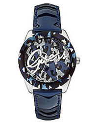 GUESS Blue Leather Strap Animal Print Logo Dial Analog Watch