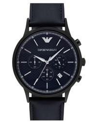 Chronograph leather strap watch 43mm medium 842265