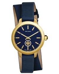 Tory Burch Collins Double Wrap Leather Strap Watch 38mm