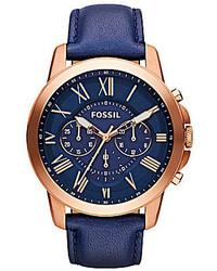 Fossil Grant Navy Leather Strap Chronograph Watch
