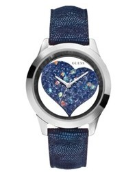Guess Blue Animal Embossed Leather Strap Watch 43mm U0113l8