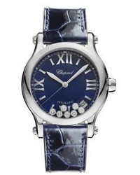 Chopard Happy Sport Diamond Stainless Steel Leather Strap Watch
