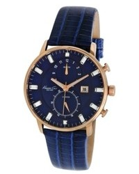 Kenneth Cole New York Watch Chronograph Blue Lizard Embossed Leather Strap 42mm Kc2756