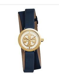 Tory Burch Logo Reva Stainless Steel Double Wrap Leather Strap Watch