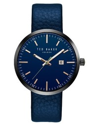 Ted Baker London Jack Round Leather Strap Watch 40mm