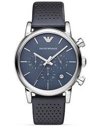 Emporio Armani Luigi Perforated Leather Strap Watch 41mm