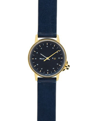 M12 watch with leather strap navygold medium 283093