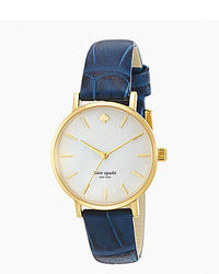 Kate Spade New York Metro Navy Croco Embossed Leather Strap Watch