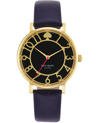 Kate Spade New York Metro Navy Leather Strap Watch 34mm 1yru0436