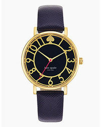 Kate Spade New York Metro Navy Saffiano Leather Strap Watch