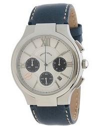 Philip Stein Teslar Philip Stein Chronograph Round Stainless Steel Watch On Navy Stitched Calf Strap Watches