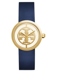 Tory Burch Reva Logo Dial Leather Strap Watch 36mm