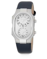 Philip Stein Teslar Signature Dual Time Stainless Steel Pebbled Leather Strap Watch
