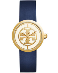 Tory Burch The Reva Three Hand Leather Strap Watch Bluegolden
