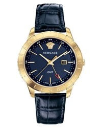 Versace Univers Leather Strap Watch