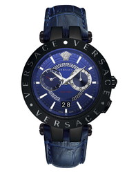Versace V Race Dual Time Leather Watch