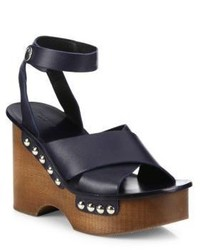 Rag & Bone Hester Leather Ankle Strap Wedge Clog Sandals