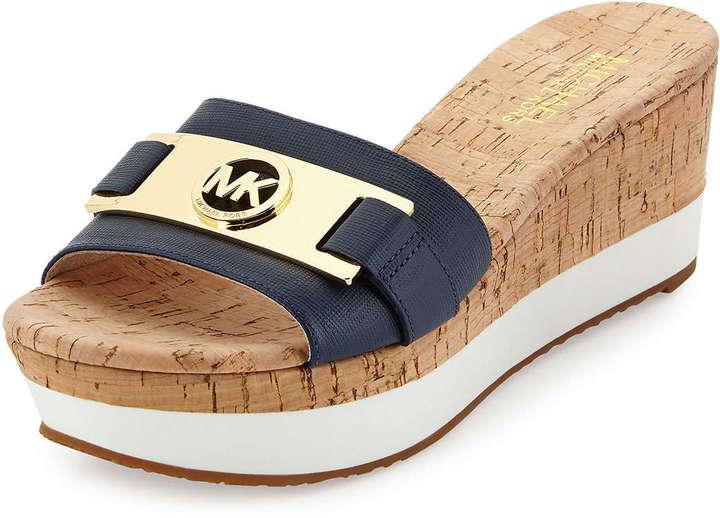 1139b5ebad ... Sandals MICHAEL Michael Kors Michl Michl Kors Warren Platform Wedge  Slide Navy ...