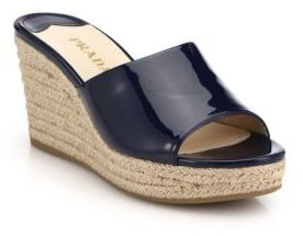 455a7c508468f ... Navy Leather Wedge Sandals Prada Patent Leather Espadrille Wedge Mule  Sandals ...