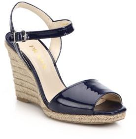 670861d350ee2 ... Navy Leather Wedge Sandals Prada Patent Leather Espadrille Wedge Sandals  ...
