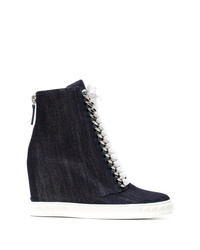 Casadei Denim Wedge Sneakers