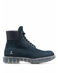 Philipp Plein Nabuk Lace Up Leather Boots