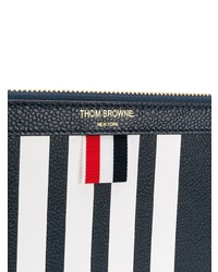 Thom Browne Small Zipper Tablet Holder With Contrast 4 Bar Stripe In Pebble Calf Leather