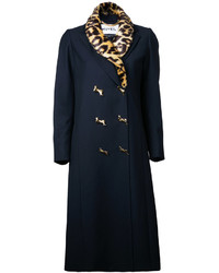 Leopard collar double breasted coat medium 4948015