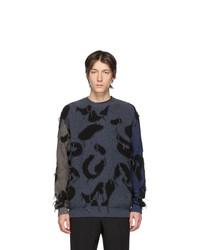 Stella McCartney Navy And Grey Intarsia Leopard Sweater