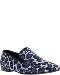 Navy Leopard Suede Loafers