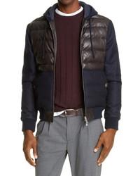 Eleventy Hooded Leather Wool Bomber Jacket