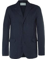 Our Legacy Blue Archive Unstructured Linen And Cotton Blend Blazer