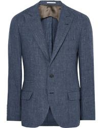 Brunello Cucinelli Blue Slub Linen Blazer