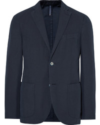 Incotex Midnight Blue Chinolino Unstructured Slub Linen And Cotton Blend Blazer