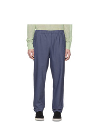Tibi Blue Linen Viscose Trousers