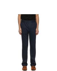 Salvatore Ferragamo Navy Linen Elastic Waist Trousers