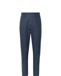 Zanella Navy Noah Slim Fit Prince Of Wales Checked Linen Blend Trousers