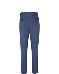 Anderson & Sheppard Pleated Linen Trousers