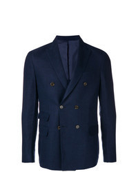 Navy Linen Double Breasted Blazer