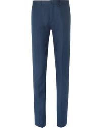 Acne Studios Blue Brobyn Slim Fit Linen And Cotton Blend Suit Trousers